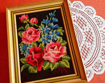 Vintage needlepoint flowers in frame