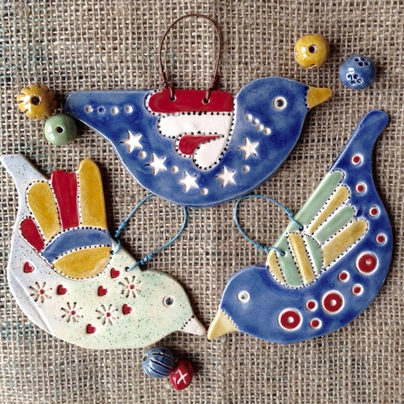 Handmade Ceramic Hanging Birds