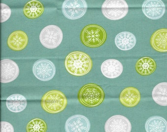 New Multi Color Snowflake Buttons on Blue 100% cotton fabric by the Fat Quarter