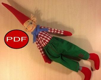 elf pattern doll pattern DIY soft doll pattern tutorial cloth doll making pdf sewing pattern pdf pattern rag doll pattern Christmas Elf
