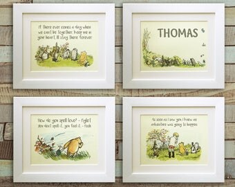 PERSONALISED Set of 4 Winnie the Pooh Quote Prints, *UNFRAMED* Birth, Christening, Nursery, Birthday, Picture Gift, Pooh Bear
