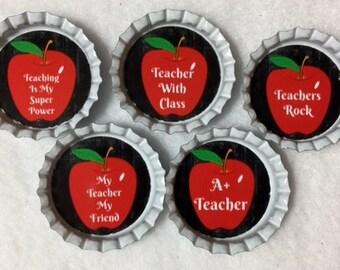 Set of 5 Teacher Bottle Cap Magnets