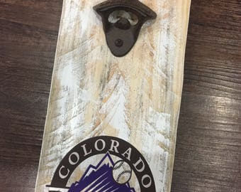 Colorado Rockies Vintage Style Wall Mounted Bottle Opener - Perfect Groomsmen Gift - Father's Day Gift - Birthday Gift