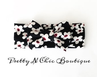 NEW! Black and White Floral Bow Headwrap