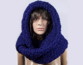 Hooded Scarf, Long Scarf, Chunky hooded scarf, Hooded long scarf, Scoodie Scarf, Knit scoodie by LoveKnittings   141