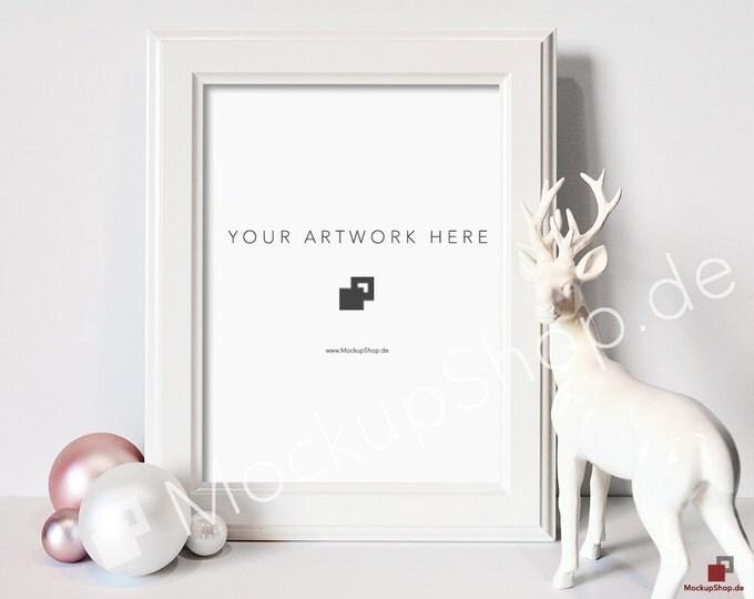 CHRISTMAS MOCKUP White FRAME / Deer and Pink & white Christmas balls / Merry Christmas Mockup / Merry Xmas Frame Mockup / Santa Claus Mockup