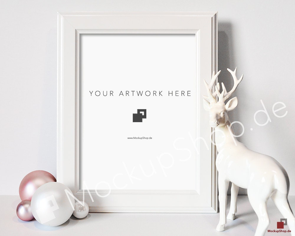 christmas mockup white frame deer and pink u0026 white christmas