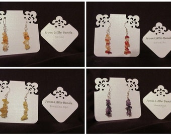 One Pair of Handmade Genuine Gemstone Earrings (Silver Plated)  Choice of Gemstones inc. Rose Quartz/Citrine/Amethyst/Tanzanite