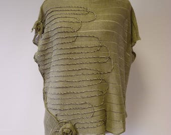The hot price. Avant garde transparent khaki linen blouse, L size.