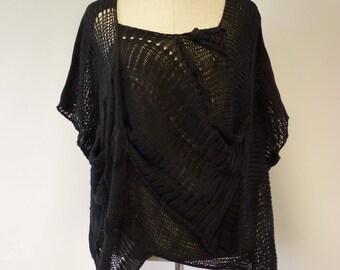 Amazing boho open-work black cotton blouse, XL size.