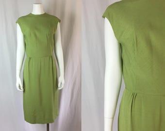 Medium ** 1960s SAGE GREEN linen dress ** vintage sixties olive green dress