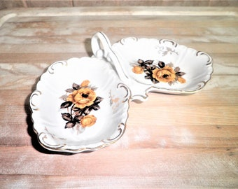 Vintage ceramic floral decorative 2 section plate