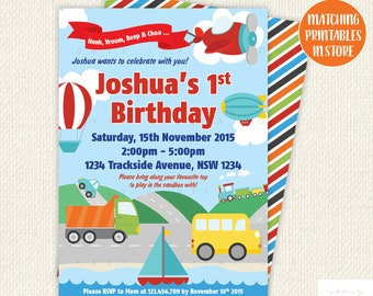 Transportation Birthday, Transportation Invitation, Transportation Party, boy first birthday, car, plane, train, truck,