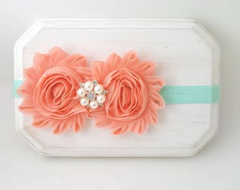 Aqua and Peach Baby Headband - Flower Girl Headband - Baby Headband - Infant Headbands - Aqua Baby Bows - Coral Baby Headband - Coral Bow