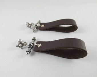 Genuine Leather Earrings, Brown Leather earrings,Celtic Earrings, Stud dangle earrings, Bohohemian Alternative Earrings, Post earrings