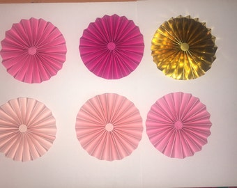 5 pink paper rosette and 1 silver foil rosette 8 inch