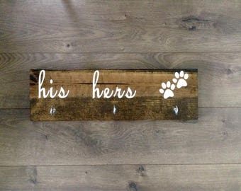 His hers dog|dog leash hook|entryway decor|leash hanger|leash holder|key hanger|key holder|housewarming gift