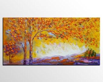 Original Art, Landscape Painting, Tree Painting, Canvas Wall Art, Framed Art, Abstract Art, Heavy Texture Painting, Living Room Wall Art