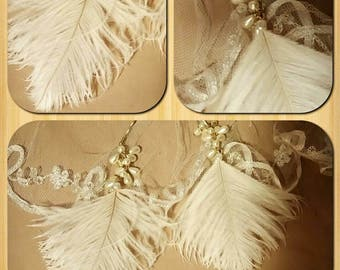 2 pins hair beads & feathers of ostrich ecru color