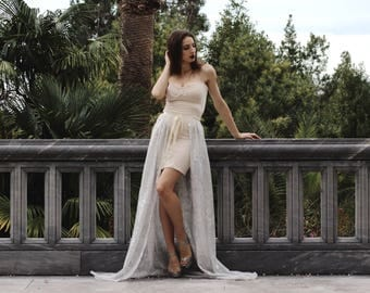 Evening gown with handmade embroidery