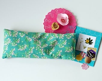 Lavendel oogkussen,Groen oogmasker met bloemen print, Wasbare hoes, Savasana, Aromatherapie, Meditatie, Perfect kado idee yoga, Ontspanning