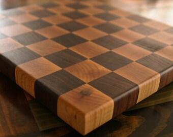 End Grain Cutting Board, chopping block, in a Checker Board Pattern