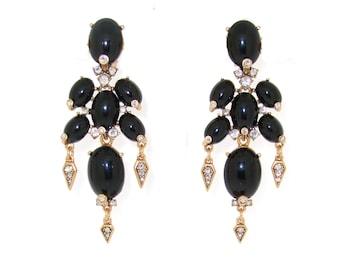 Vintage Oscar de La Renta Earrings Big Black Chandelier Clip On