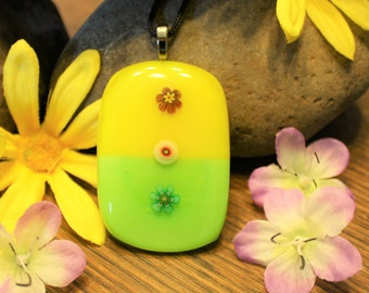 Handmade Pendant - Fused Glass Jewelry - Glass Necklace - Multicolored Flower