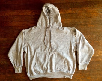 Vintage 1980s Franklin Heather Grey Tri Blend HOODIE Sweatshirt Size Large Hipster