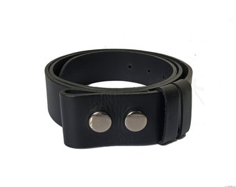 "Black Belt Strap - 1"" 1/2 - Handmade in UK - Snap on Belt - Leather Strap - Black Belt - Removable Buckle - custom belt straps"