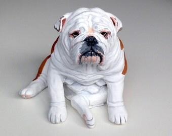 Pet Portrait Custom, Pet Memorial, English Bulldog Statue, English Bulldog Art, Dog Portrait, Gifts for Dog Lovers, Clay Sculpture,