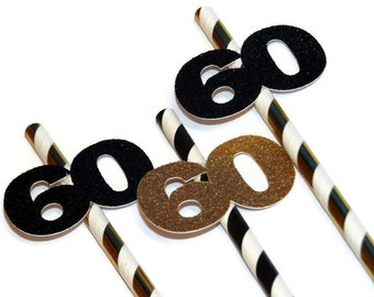 60th birthday decorations, 10CT, Number 60 straws, party straws, sixtieth, sixty decorations, gold and black, glitter