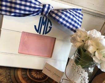 Blue Gingham Bow Monogrammed Picture Frame