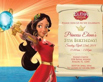 Elena of Avalor Invitation - Elena of Avalor Birthday Invitation - 5x7 or 4x6 - Custom, Personalized Digital File,Princess Elena, Printable