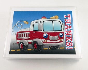Fire Truck Thank You Note Card - 18 Boxed Cards & Envelopes - B14144