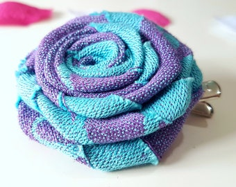 Large sky blue handmade fabric rose hair clip/textile flower/metal hair clip/gift for her/boho hair accessory/wrap scrap/bridal hair flower
