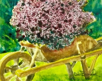 Original watercolor painting, Wooden Wheelbarrow with Flowers, Garden Art, Cabin Decor, Rustic Decor, Gift for Gardeners, Office Decor