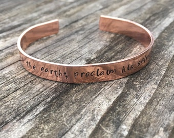Sing to the Lord 1 Chronicles 16:23 Hand Stamped Bracelet, Personalized Quote, Copper or Aluminum Woman