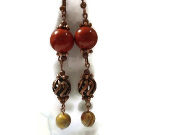 Red Jasper and Crazy Lace Agate Semiprecious Rounds Accented with Antique Copper Jewelry Components Dangle Earrings 149