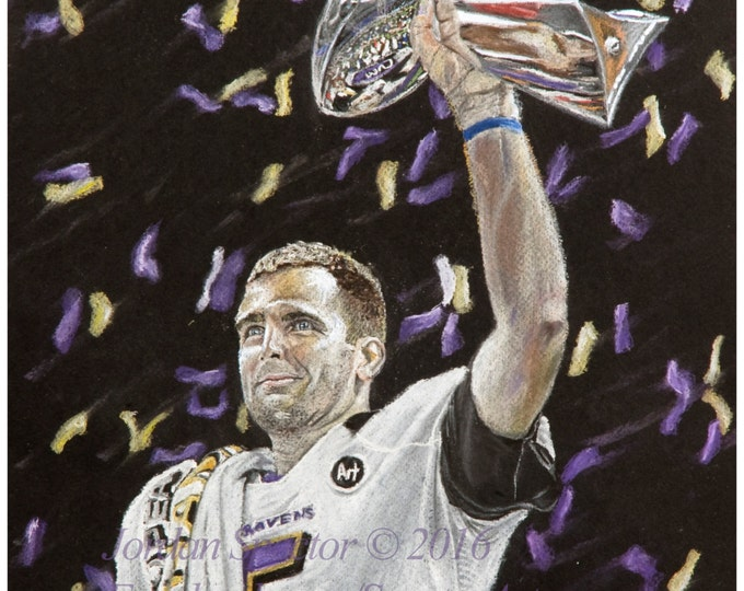 Baltimore Raven - Joe Flacco - Art Print - Ravens - Super Bowl - Wall Art - Man Cave - Ravens Decor - Dorm Decor - Gifts Ideas - Baltimore