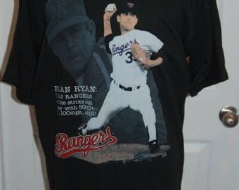 Vintage 1990 Nolan Ryan Texas Rangers Shirt XL Salem Brand