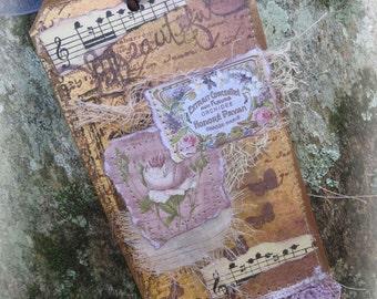 mixed media tag, Journal Tag,  Vintage Style Tag, Gift Tag, Pink Tag, Hang tag, Junk journal tag, Lace tag, Lace collage tag, handmade tag