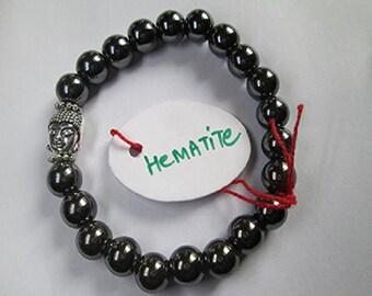 WholesaleGemShop -Hematite 8 mm Bead Buddha Bracelet with Free Shipping
