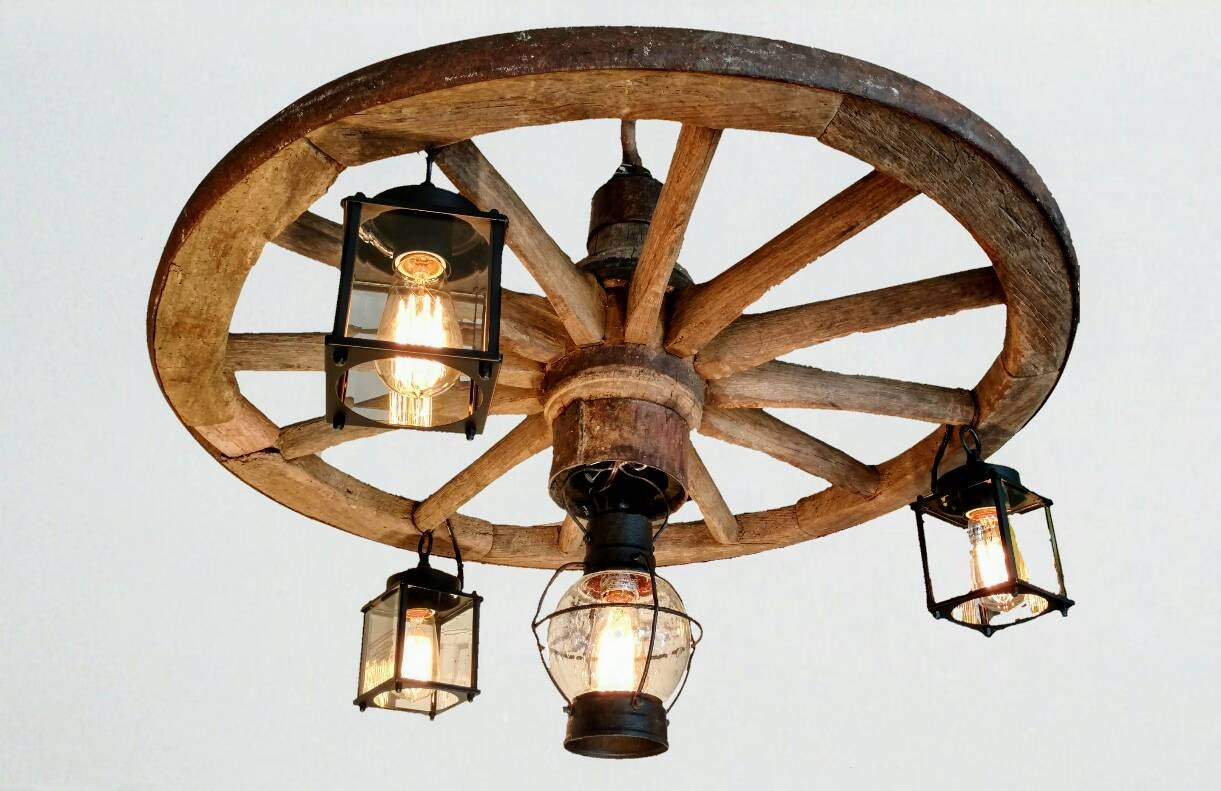34 Authentic Wooden Wagon Wheel Chandelier With Vintage