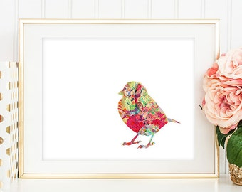 75% OFF SALE - Bird Art Print - 5x7 Sparrow Art, Sparrow Print, Bird Artwork, Bird Print, Printable Wall Art