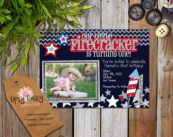 Red, White, Blue, Kids, Fourth of July Fireworks Glitter Photo Birthday Party Invitation, Fully Customized, Your Age (I Design, You Print)