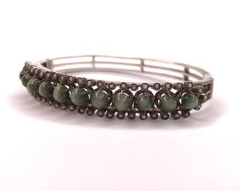 Antique Victorian Silver Cats Eye Chrysoberyl and Seed Pearl Bracelet