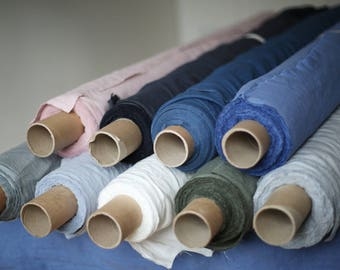 LINEN FABRIC / natural dyed / pre-washed / eco friendly in different colours