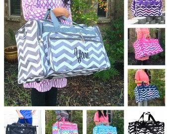 Chevron DUFFLE Bag, Personalized Overnight Bag, Monogrammed Duffle Bag, Women Duffle Bag, Girls Overnight Bag, Hospital Bag, Weekender Bag