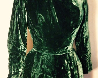 1950's Large Green Velvet Bombshell Holiday Dress - Size Large - Fit and Flare 1950's velvet dress